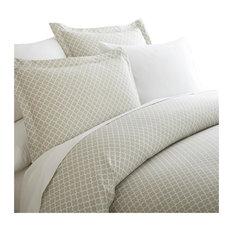 Home Collection Premium 3 Piece Quadrafoil Printed Duvet Cover Set, Queen, Gray
