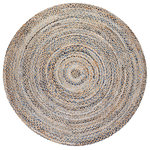 Anji Mountain - Kerala Denim and Jute Round Rug, 8' - Style your living room, kids' rooms and entryways with the unique round Kerala Denim and Jute Rug. As an elegant, eco-friendly style statement, this round braided rug offers a rich, classic look for your transitional areas. Handmade with upcycled denim and natural jute using ethical labor practices, this handloom-woven piece represents centuries of global weaving traditions. Don't be fooled by the intricacy of its design; its dense construction creates the ultimate soft, durable surface so you won't have to tread lightly on your new rug.