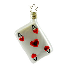 Inge Glas - inge Glas Ace Blown Glass Ornament Cards Hearts Gamble 104806 - Christmas Ornaments