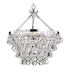 Crystal Glass 5-Light Luxury Chandelier, Chrome
