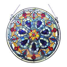 CHLOE Lighting, Inc. - Chloe Lighting Tiffany-Glass Victorian Window Panel - Stained Glass Panels