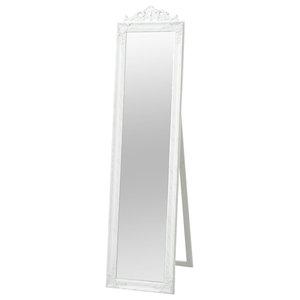 vidaXL Free-Standing Mirror Baroque Style, White, 160x40 cm