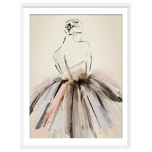 """On Pointe"" Figurative Art Print, White Framed, 50x70 cm"
