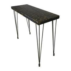 Dining Table, Mid, Century Hairpin Legs, Reclaimed Wood, 12x48x30, Dark Walnut