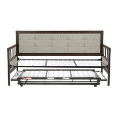 Gotham Metal Daybed With Button-Tufted Upholstery and Trundle Bed Pop-Up Frame