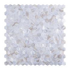 Art3d LLC - Backsplash Tiles River Hexagon Seamless Pure White, Single Tile - Mosaic Tile