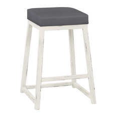 "Violet 26"" Counter Height Backless Barstool, Faux Leather, Distressed White"
