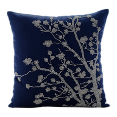 "Blue Cotton Linen 22""x22"" Magnolia Flower Pillows Cover, Silver Magnolia"