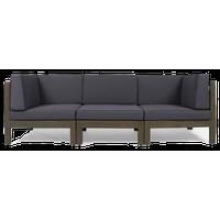 GDF Studio Dawson Outdoor 3-Seater Acacia Wood Sectional Sofa, Gray/Dark Gray
