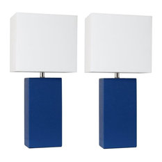 Elegant Designs  Modern Leather Table Lamps, Blue with White Fabric Shades