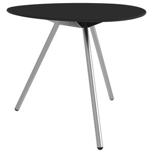 Dine A-Lowha Dining Table, Black, Stainless Steel Frame