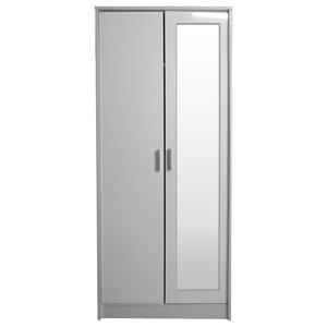 Khabat 2 Door Wardrobe, White and White Oak, With Mirror
