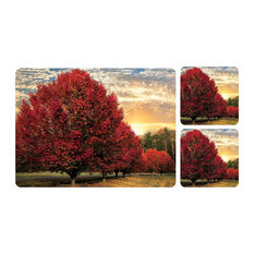 Pimpernel Crimson Trees Placemats and Coasters, Set of 6