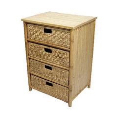Bamboo Storage Cabinet w 4 Hyacinth Baskets  Bamboo