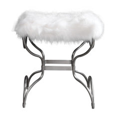 Luxe Shaggy Plush White Faux Fur Bench | Open Silver Metal Curved Frame Retro