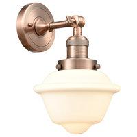 Small Oxford 1-Light LED Sconce, Antique Copper, Glass: Matte White Cased