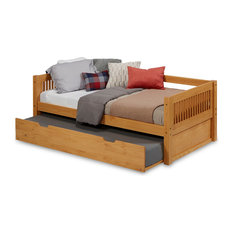 Camaflexi Twin Day Bed With Twin Trundle, Mission Headboard, Natural Finish