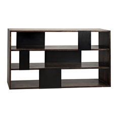NOIR Furniture - Reed Bookcase Ebony Walnut With Metal - GBCS205EB