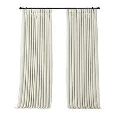 "Signature Off White Doublewide Blackout Velvet Curtain Single Panel, 100""x84"""