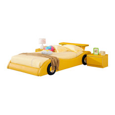 Yellow Leather Rider Kids Car Bed