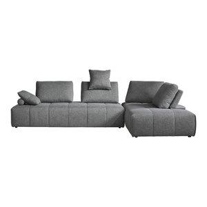 Divani Casa Edgar Modern Gray Fabric Modular Sectional Sofa