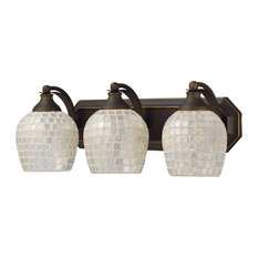 Celina 3-Light Vanity, Aged Bronze And Silver Mosaic Glass