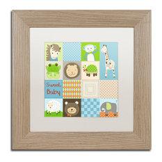 "Jennifer Nilsson 'Baby Boy Animal Quilt' Art, Birch Frame, 11""x11"", White Matte"