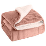 Chateau Lin - Plush Sherpa 50x60 Throw Blanket, Rose - FEATURES: