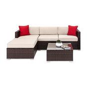 Oakville 5-Piece Outdoor Rattan Sectional Sofa, Patio Wicker Furniture Set