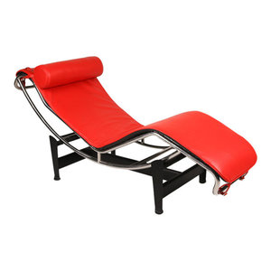 Gravity Aniline Leather Chaise Lounge, Red