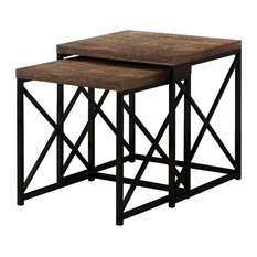 40.5-inch Particle Board And Black Metal Two Pieces Nesting Table Set Brownblack