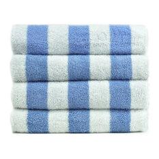 100% Cotton Pool Beach Towel, Cabana Blue, Set of 4
