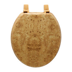 Trimmer Wood Toilet Seat With Faux Wood Grain Painting, Light Wood Swirl