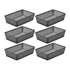 6-Pack Plastic Storage Baskets for Office Drawer, Desk, 32-1182-6, Gray