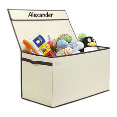 Personalized Kids Collapsible Toy Box With Flip-Top Lid, Julian