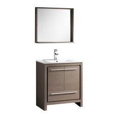 """Fresca Allier Vanity w/ Mirror, Gray Oak, 29.5"""", Trieste"""