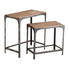 Winslow End Or Side Table In Raw Iron And Natural Wood