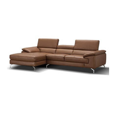 A973B Premium Leather Sectional Sofa In Caramel Left Hand Facing Chaise