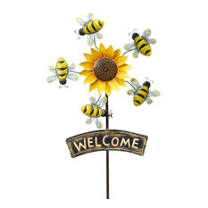 63-Inch High Metal Sunflower Yard Stake with Wind Spinner Bees