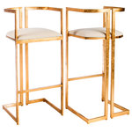 """Statements by J - Miloh Sheepksin Bar Stools, Set of 2 - This set of 2 Bar stools with removable. sheepksin pad has gold crackle design and linen seats. Seat height: 30.5""""h, footrest distance from the floor: 12""""h"""