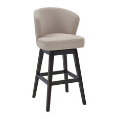 "Mussig 26"" Wood Swivel Counter Stool, Espresso Finish, Tan Fabric"