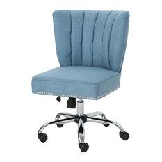 GDF Studio Angela Fabric Home Office Chair, Blue/Chrome