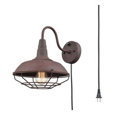 Industrial Rust Gooseneck Wall Sconce with Cage, Plug-in