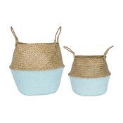 Blue Dipped 2-Piece Wicker Baskets Set