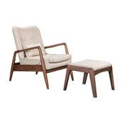 Bully Lounge Chair & Ottoman, Beige