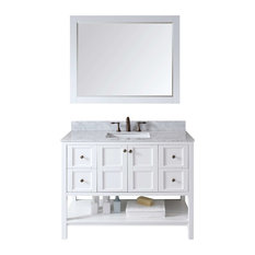 "Virtu ES-30048-WMSQ-WH Winterfell Single Bathroom Vanity Cabinet Set, 48"", White"