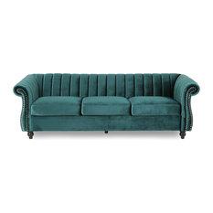 Olga Modern Glam Velvet 3 Seater Sofa, Teal, Dark Brown