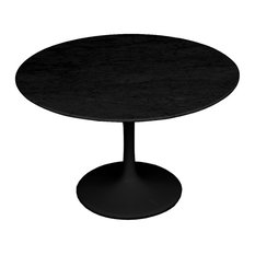 Flower Artificial Marble Table, Black, 39 by Finemodimports