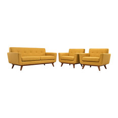 Modway - Engage Armchairs and Loveseat Set of 3 in Citrus - Loveseats