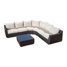 GDF Studio 7-Piece Prado Outdoor Sectional Sofa With Beige Cushions Set